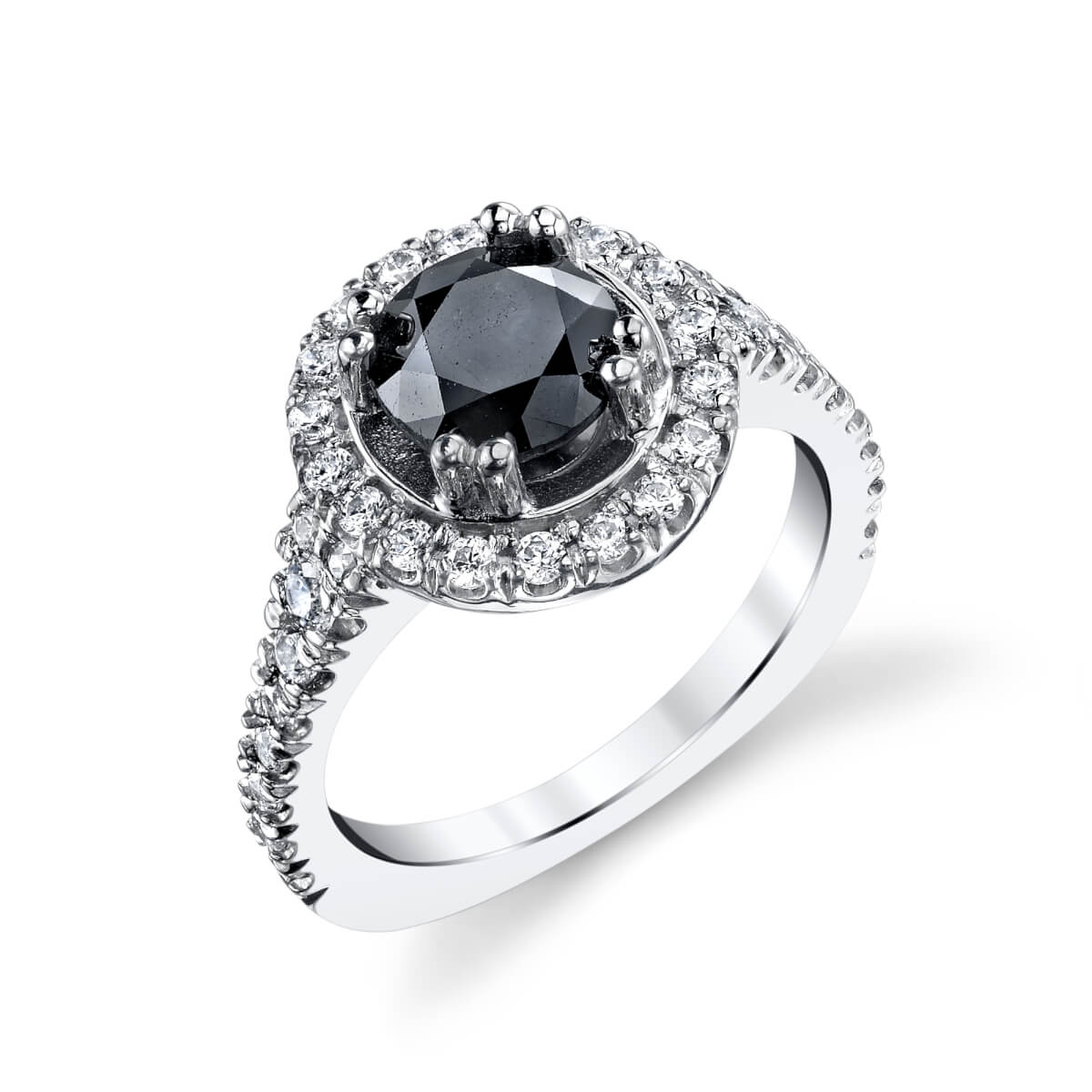 dark stone engagement ring