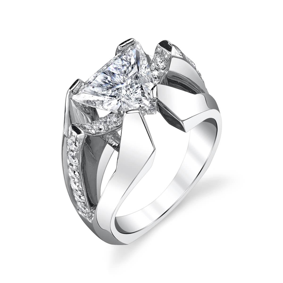 unique trillion cut setting engagement ring