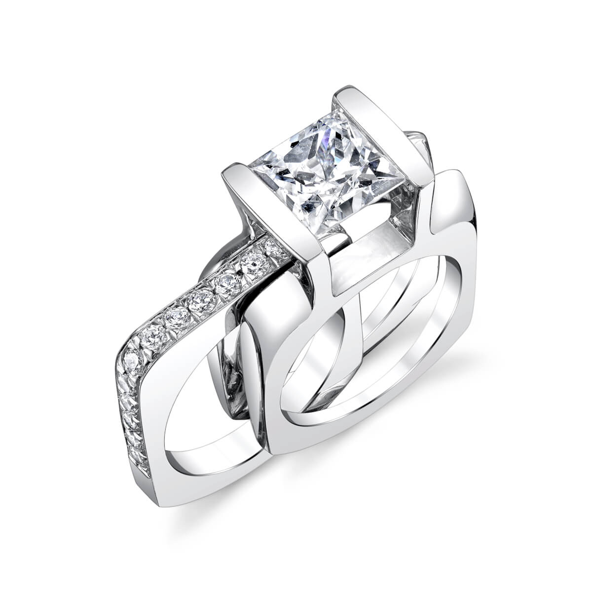 square style engagement ring and band