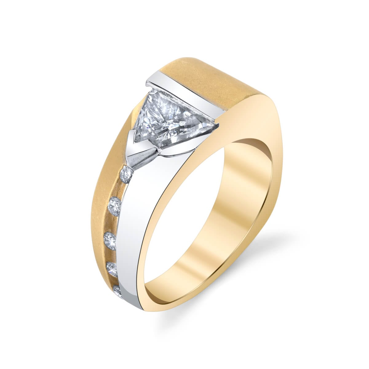silver and gold diamond ring