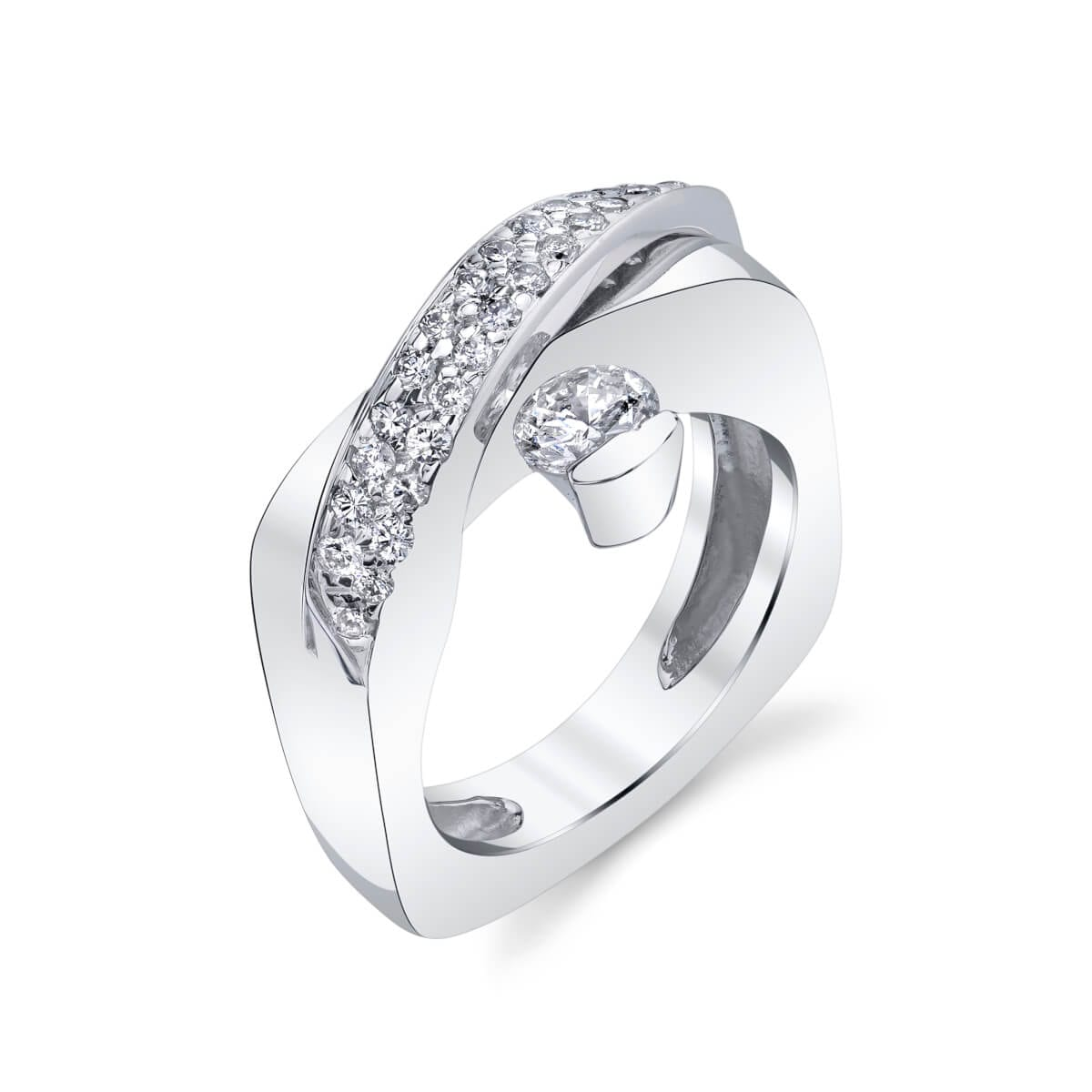 cris cross band style engagement ring