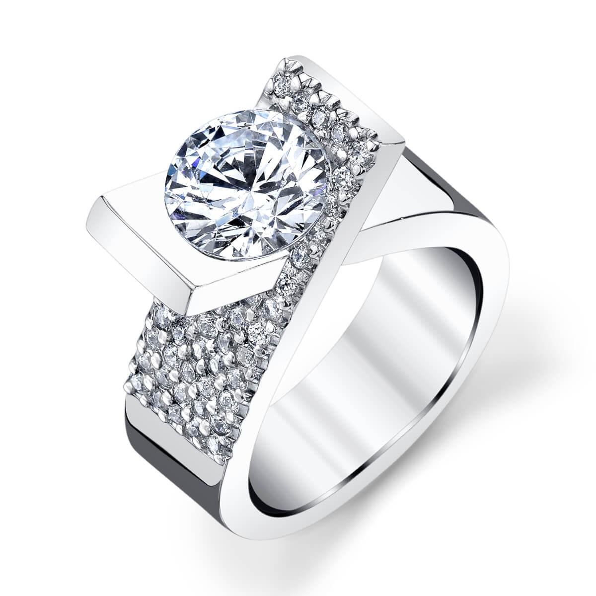 tension diamond wedding band
