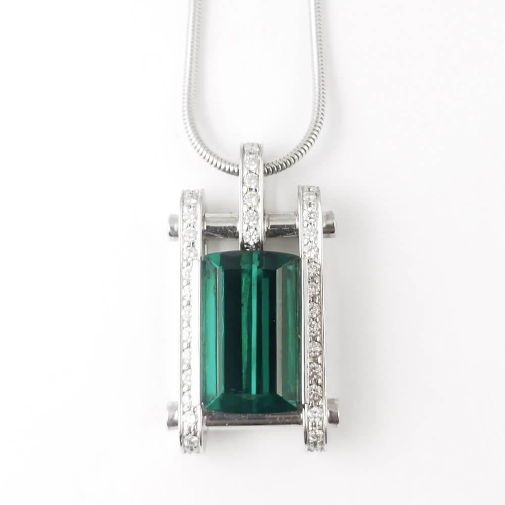 18KW Green Tourmaline Necklace CH336