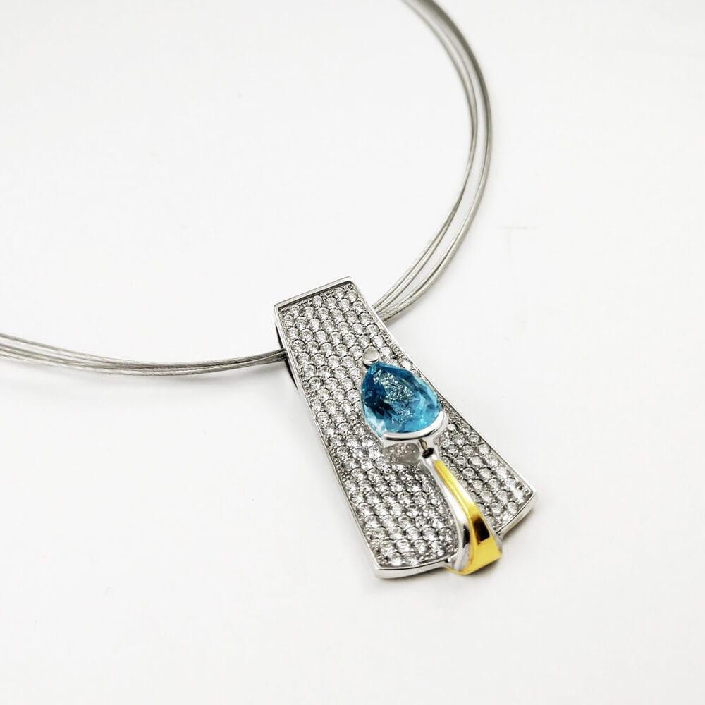 18KWY Aquamarine Necklace CH533