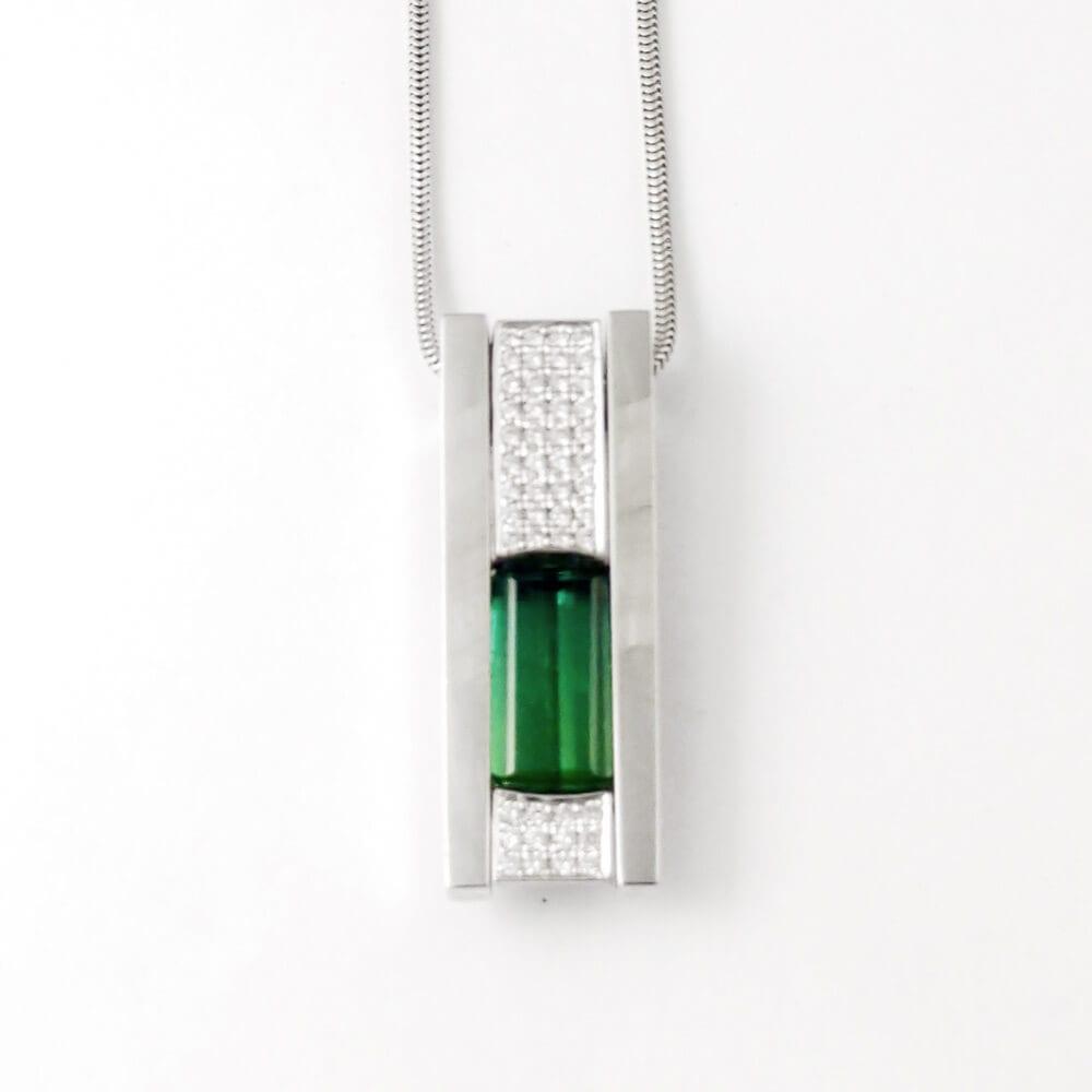 18KW Green Tourmaline Necklace CH585