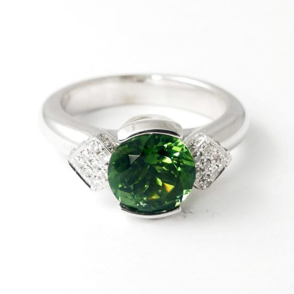Green Tourmaline Ring R860 Front View