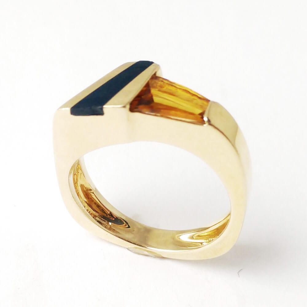 14KY Citrine Black Onyx Ring R415