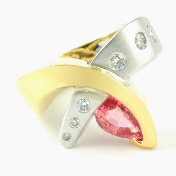 18KY Padparadscha SapphireRing R554