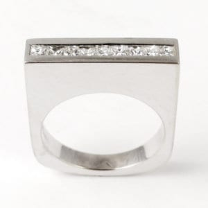18KW Modern Diamond Ring R695